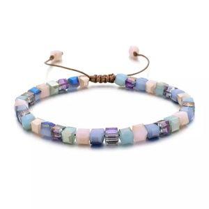 Womens Boho Macrame Square Glass Crystal 928/29